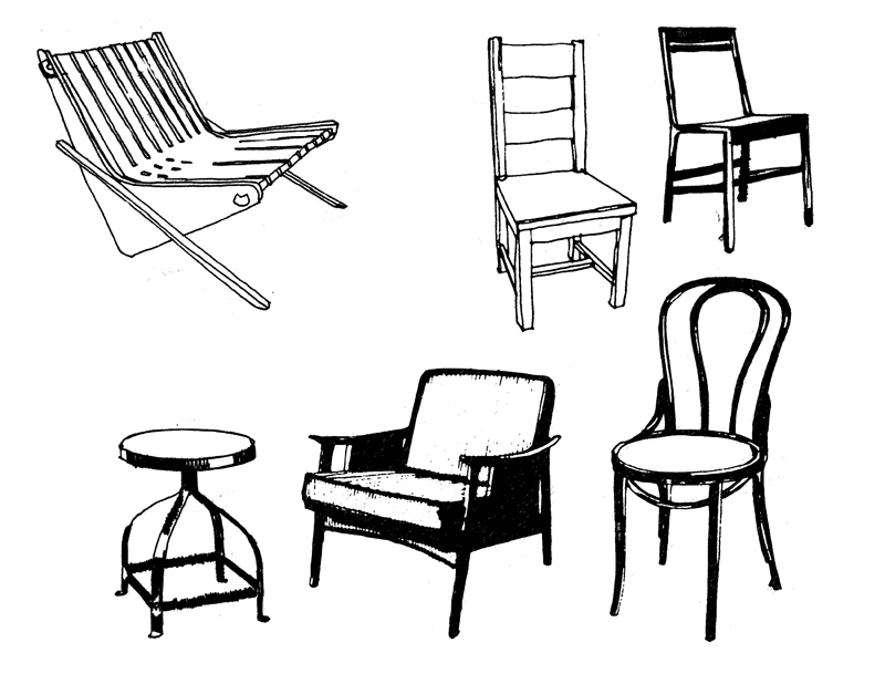'Vintage Chairs' illustration by Roam & Chroma for La Finca Vintage & Modern.